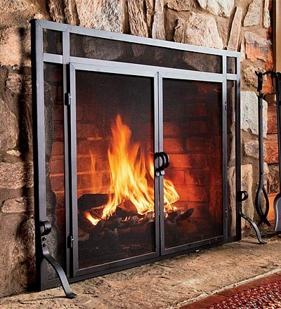 Plow Amp Hearth Large Flatguard Fireplace Screen With Doors