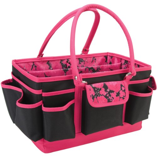Mackinac Moon Open Top Craft Tote- Black with Pink Floral