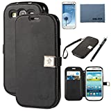 Case for Galaxy S3, By Ailun, Wallet Case,PU Leather Case, Credit Card Holder , Flip Cute Cover [Black] whith Screen Protector with Styli Pen