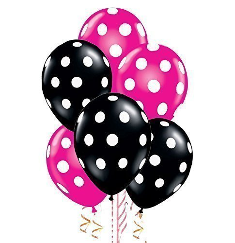 24 Assorted Balloons - Black with White Polka Dots and Berry Pink with White Polka Dotsblack by Qualatex