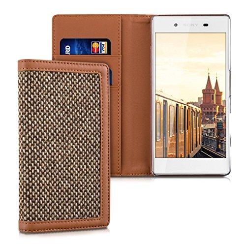 kalibri-Wallet-Case-Hlle-Donna-fr-Sony-Xperia-Z5-Cover-Flip-Tweed-Kunstleder-Tasche-mit-Kartenfach-in-Braun