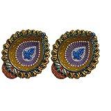 Swapnali Set Of 2 Decorative Hand Crafted Diwali Diyas (7 Cm X 8.25 Cm X 1.90 Cm) - B012T6P3Q8
