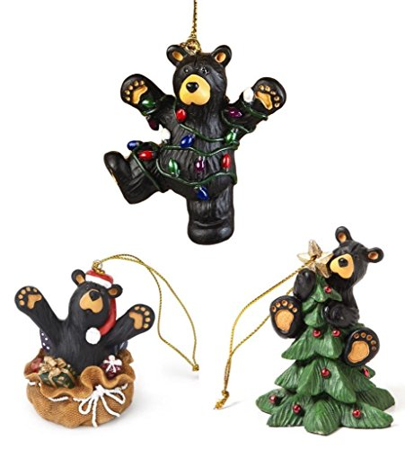 Bearfoots Black Bear 3 Christmas Festivities Ornaments Set