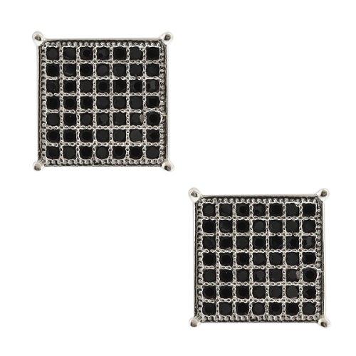 2.00 Ct Men's Sterling Silver Earrings Black Cubic Zirconia CZ 10mm