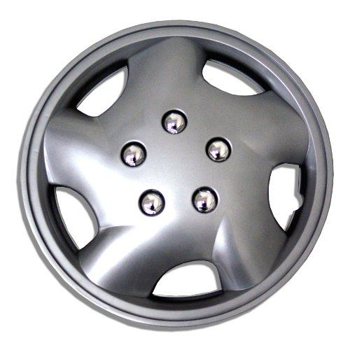 TuningPros WSC-852S14 Hubcaps Wheel Skin Cover 14-Inches Silver Set of 4 (Bmw 325 Wheel Cover compare prices)
