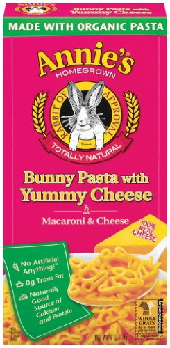 Annie's Homegrown Bunny Shape Pasta & Yummy Cheese Mac & Cheese, 6-Ounce Boxes (Pack of 12)