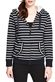 Zip Through Striped Hooded Top [T51-1744-S]