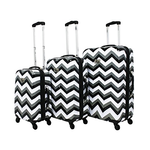 Chariot Chevron 3-Piece Hardside Upright Spinner Luggage Set - Black & White