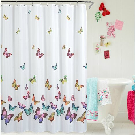 Butterfly Shower Curtain - 100% Polyester