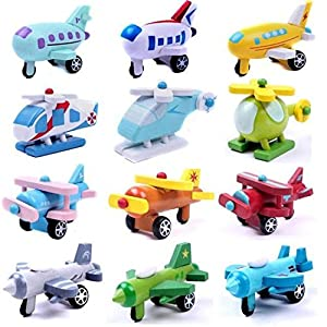 Set of 12 Wooden Airplane Model Educational Toys from Viskey
