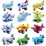 Set of 12 Wooden Airplane Model Educational Toys