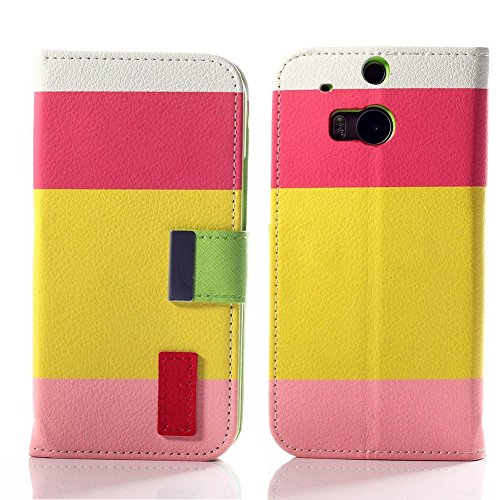 Mylife Starburst Pink + Sun Bright Yellow {Elegant Striped Design} Faux Leather (Card, Cash And Id Holder + Magnetic Closing) Slim Wallet For The All-New Htc One M8 Android Smartphone - Aka, 2Nd Gen Htc One (External Textured Synthetic Leather With Magnet