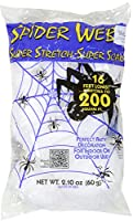 White 16 ft Long Super Stretch Scary Spider Web Halloween Decoration (Pack of 2) by Super Stretch