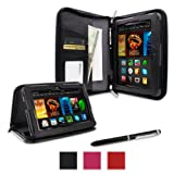 """rooCASE Amazon All New Kindle Fire HDX 7 Case - (2014 Current Generation) Executive Portfolio Leather 7-Inch 7"""" Cover with Landscape, Portrait, Typing Stand, Hand Strap - BLACK (With Auto Wake / Sleep Cover)"""