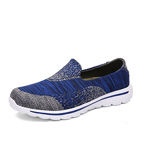 T.B Walking da unisex adulto, uomo e donna Go Walk Donna Trainer Slip On scarpe sportive tempo libero scarpe corsa esterna, Blue/Grey, 2 UK