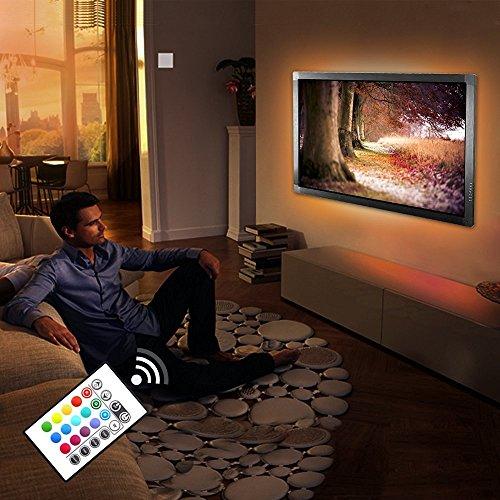 """Nastri Led TV Bias Light ,RGB SMD Striscia LED Kit 4*500mm con Telecomando 16 colori Retroilluminazione TV PC Illuminazione interna Celebrazioni di Festival Pangton villa 48""""-50"""""""
