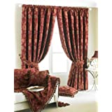 Zurich Lined Ready Made Curtains Burgundy 66 x 72