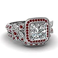 Fascinating Diamonds Round Red Ruby 1.10 Ct Princess Cut SI1 Diamond Butterfly Wedding Rings Set 14K GIA from Fascinating Diamonds