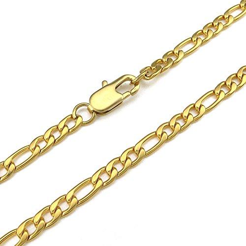 KONOV Gioielli Collana da Uomo, Catenina Lunga 45cm, 5mm Figaro Link, Acciaio Inossidabile, Oro (con Borsa Regalo) - 5mm - 45cm