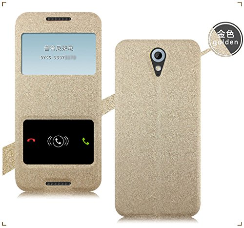 Original Pudini® Golden Colour Double Window Flip Case For HTC Desire 620G Dual Sim With Free Clear Screen Guard