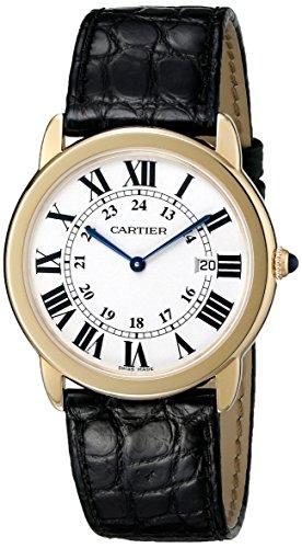 Cartier Men's 36mm Black Patent Leather Band Steel Case Swiss Quartz Silver-Tone Dial Watch W6700455