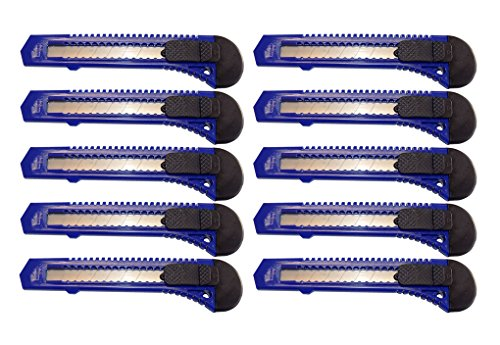 Box Cutter Utility Knife Tool with breakaway Retractable Snap off razor blade x10 BLUE