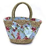 ジェシースティール 大きなリボンとフラワープリント布がキュートなカゴバッグ Pink Magnolias Seagrass Beach Bag シーグラス ビーチバッグ ≪2014SS≫ 822-JS-250「並行輸入品」