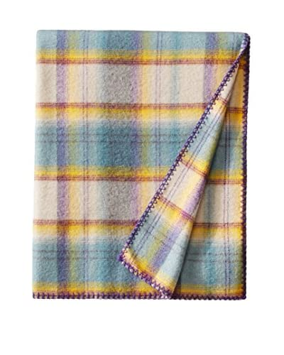 bambeco Classic Plaid Wool Throw, Taupe