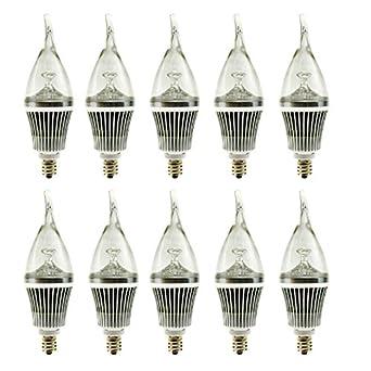 ranpo e12 ac 110v 3w flame shape led candle light bulb cool white non dimmab. Black Bedroom Furniture Sets. Home Design Ideas