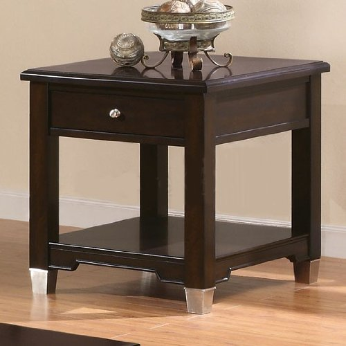 Cheap End Table with Silver Feet in Dark Brown Walnut Finish (VF_701197)