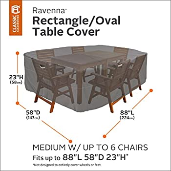 Classic Accessories Ravenna Rectangular/Oval Patio Table & Chair Set Cover - Premium Outdoor Furniture Cover with Durable and Water Resistant Fabric, Medium (55-154-035101-EC)