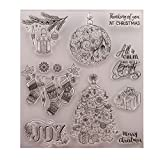 GIMITSUI Store Clear Stamp Diary Book Paper Craft Maker (Christmas Tree, Present) (Color: Clear, Tamaño: Christmas)