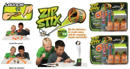 Zip Stix Stunt Pack x 2 (2 ZipStix, 2 Launchers, 3 Crash Cones and 1 Kicker Ramp)