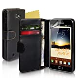 Black Leather Wallet Case For The Samsung Galaxy Note With Screen Protector
