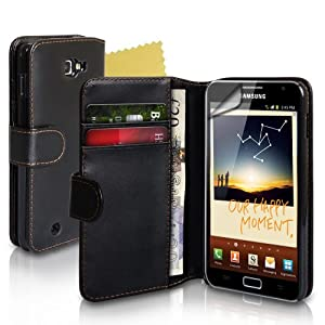 Yousave Accessories TM Black Leather Wallet Case For The Samsung Galaxy Note With Screen Protector