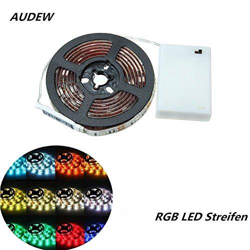 AUDEW-RGB-LED-Strip-Streifen-5050-SMD-Licht-Band-Leiste-Wasserdicht-IP65-Batteriebetrieben-200CM
