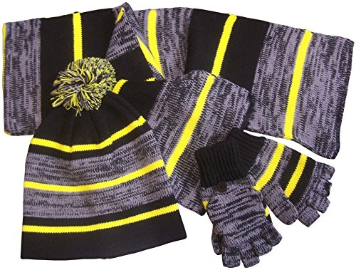 NIce-Caps-Kids-and-Toddlers-Heather-Striped-HatScarfGlitten-Set-3-5-Years-blackneon-yellowheather-grey