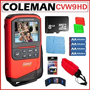 Coleman CVW9HD Xtreme Video Full 1080p HD Wateproof Camcorder in Red + 8GB Accessory Kit