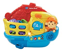 Welcome aboard the Alpha-Boat by VTech. Catch the floating letter fish and put them on the scale to hear letter names, letter sounds and music. Then, your child can play a simple question and answer game that helps quiz them on what they've learned.