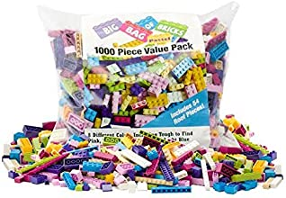 "Building Bricks - 1000 Pc ""Big Bag of Bricks"" Bulk Pastel Friends-colored Blocks with 54 Roof Pieces - Tight Fit with Lego"