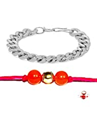 Factorywala Silver Plated Bracelet With Multi Color Rakhi For Brothers (2 Set)