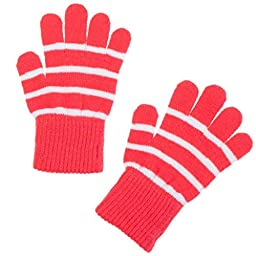 POLARN O. PYRET CLASSIC STRIPE MAGIC WOOL GLOVES (6M-4 YRS) - 6 months - 4 years/Paradise pink