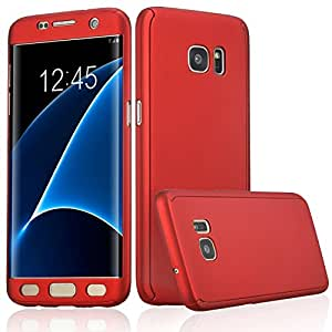 Xelcoy® 360 Degree Full Body Protection Front & Back Slim Hybrid Case Cover With Tempered Glass Protector for Samsung Galaxy Note 5 - Red