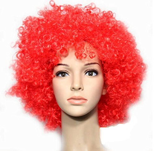 Halloween Clown Costume Wigs Solid Color Party Curly Hairpiece