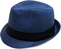 TAUT Unisex Fedora Hat Short Brim Sun Cap with Solid Color Band SM Pure_Navy
