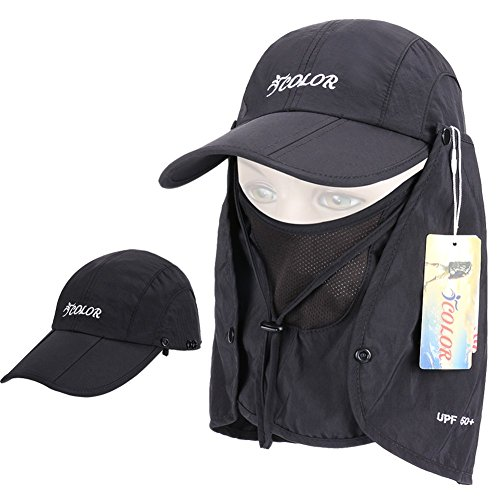ICOLOR UPF 50+ Quick Drying Sun Hat Cap w/Removable Neck & Face Flap Cover ,Man Women 360° Protection Folding Sun Hats, for Cycling,Hiking, Fishing, Camping , Outdoor Activities (Black) (Womens Sun Shades compare prices)