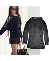 Zehui Lady's Batwing Dolman Stylish Loose Blouse Long Sleeve Shirt Lace Tops T-Shirt Black