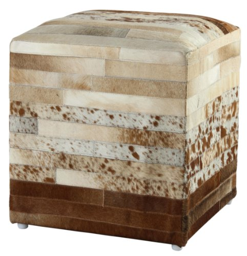 Pouf Ottoman Leather Striped Hide, 21-Inch, Brown