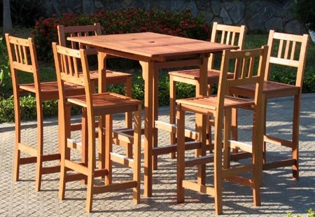 Valencia Collection Extendable Outdoor Bar Dining Set