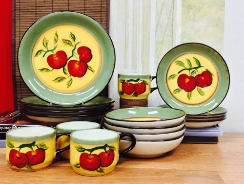 Tuscany Hand Painted Garden Collection Apple On Branch 16Pc Dinnerware Set , 85316 By Ack back-641430